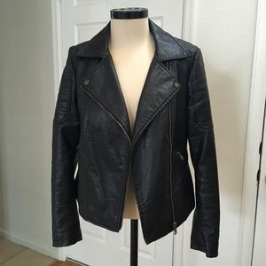 Vince Camuto Leather Asymmetrical Zip Moto Jacket